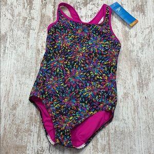 NWT Speedo black multi color one piece swimsuit